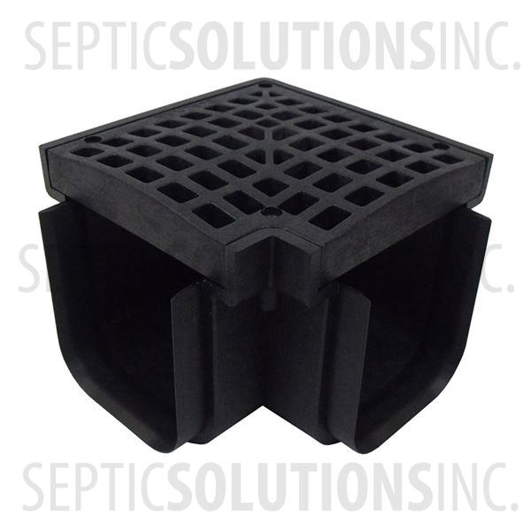 Polylok Heavy Duty Trench/Channel Drain 90 Degree Corner & Grate (Black) - Part Number PL-90860-90