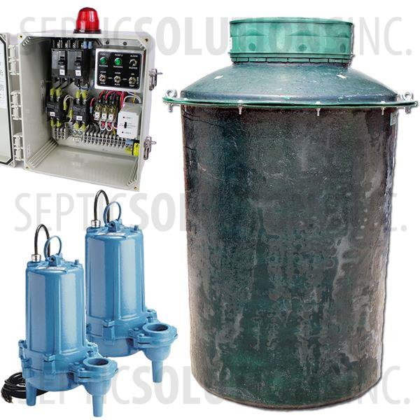 300 Gallon Duplex Fiberglass Pump Station with (2) 1.0 HP Sewage Ejector Pumps and Alternating Control Panel - Part Number 300FPT-10SDUP