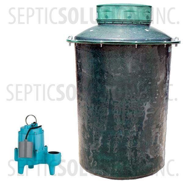 500 Gallon Simplex Fiberglass Pump Station with 4/10 HP Sewage Ejector Pump - Part Number 500FPT-410S