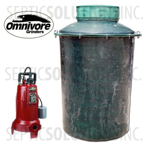 500 Gallon Pump Station with 2.0 HP Sewage Grinder Pump - Part Number 500FPT-LSG202