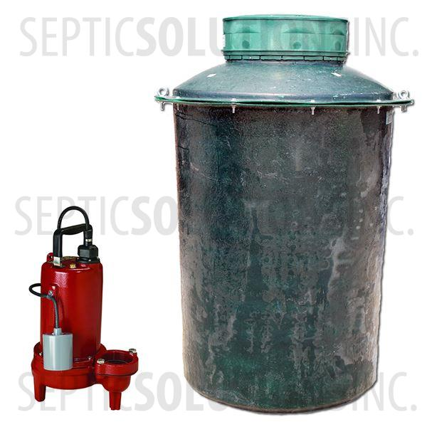 300 Gallon Simplex Fiberglass Pump Station with 3/4 HP Sewage Ejector Pump - Part Number 300FPT-LE71