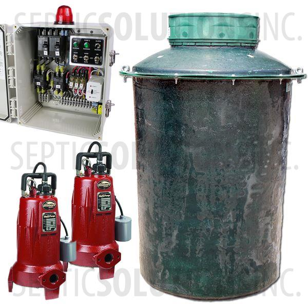 500 Gallon Duplex Fiberglass Pump Station with (2) 2.0 HP Sewage Grinder Pumps and Alternating Control Panel - Part Number 500FPT-LSG202DUP