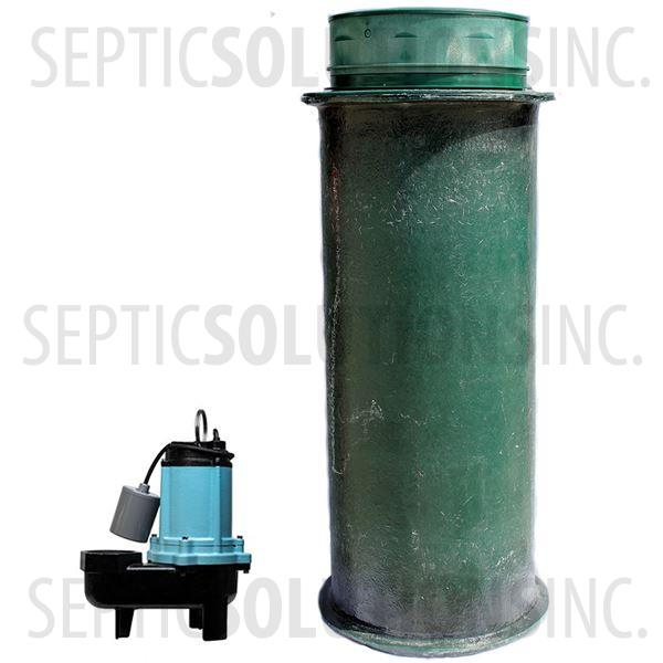 120 Gallon Simplex Fiberglass Pump Station with 1/2 HP Sewage Ejector Pump - Part Number 120FPT-12S