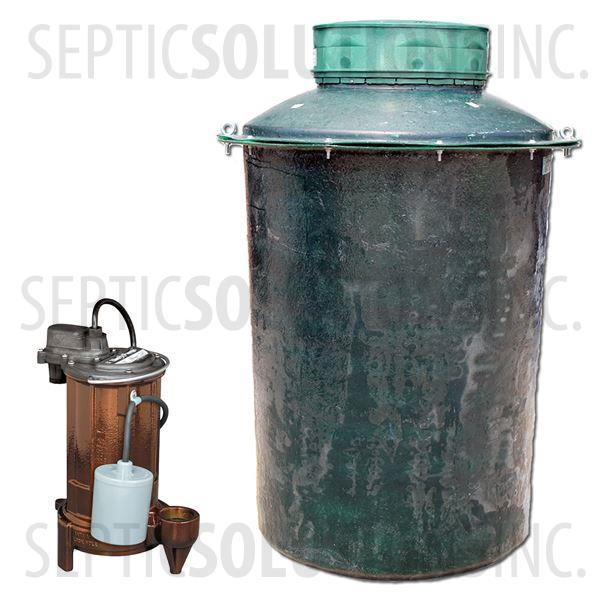 300 Gallon Simplex Fiberglass Pump Station with 1/2 HP Effluent Pump - Part Number 300FPT-283