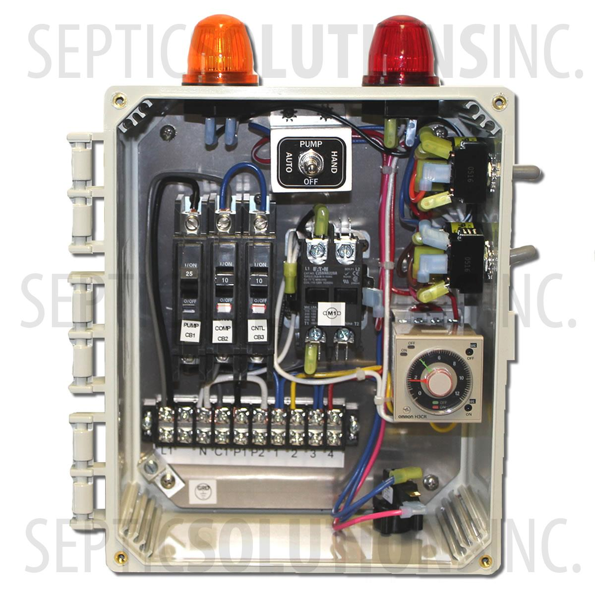 Wiring Septic Dosing Tank Building A Diagram Control Alarm Aerobic Time System Panels And Alarms 750 Gallon