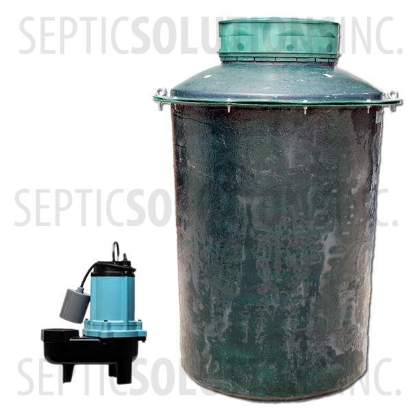 500 Gallon Simplex Fiberglass Pump Station with 1/2 HP Sewage Ejector Pump - Part Number 500FPT-12S