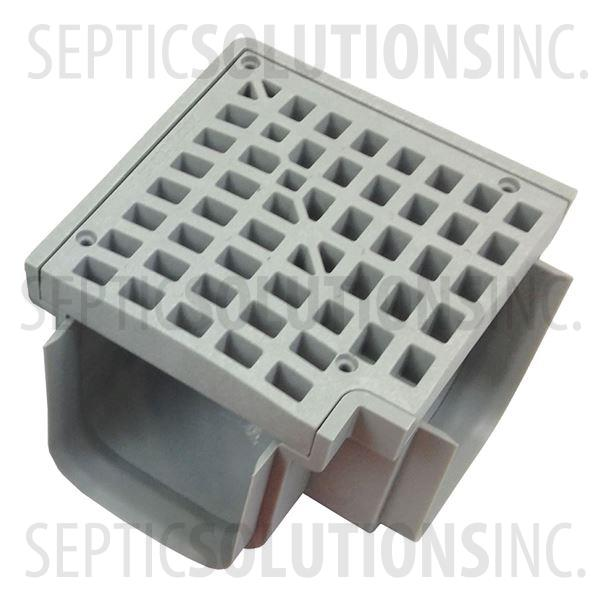 Polylok Heavy Duty Trench/Channel Drain 90 Degree Corner & Grate (Grey) - Part Number PL-90860-90G