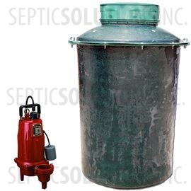 500 Gallon Simplex Fiberglass Pump Station with 1.0 HP Liberty Sewage Ejector Pump