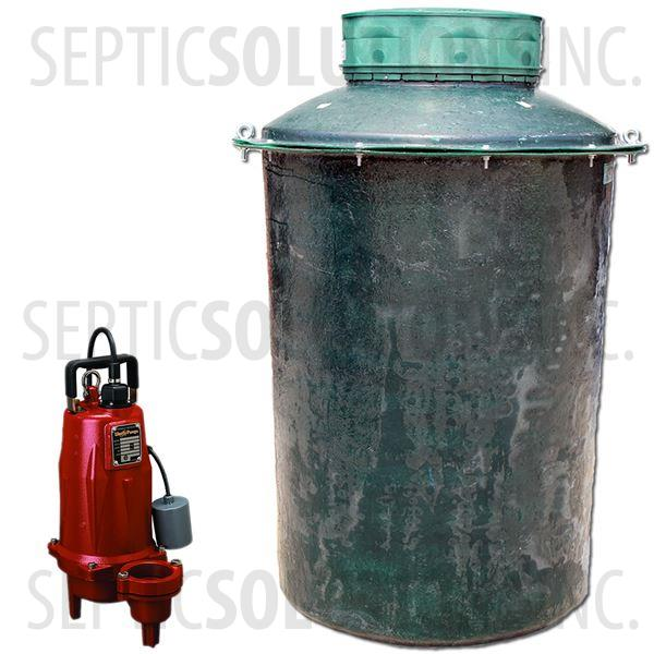 500 Gallon Simplex Fiberglass Pump Station with 1.0 HP Liberty Sewage Ejector Pump - Part Number 500FPT-LEH102