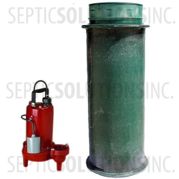 120 Gallon Simplex Fiberglass Pump Station with 3/4 HP Sewage Ejector Pump - Part Number 120FPT-LE71
