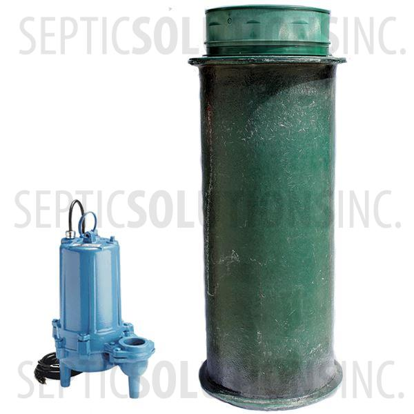 120 Gallon Simplex Fiberglass Pump Station with 1.0 HP Sewage Ejector Pump - Part Number 120FPT-10S
