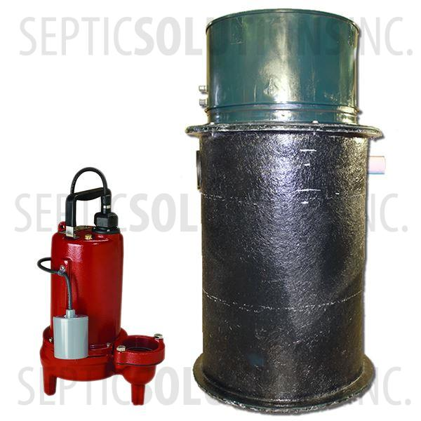 70 Gallon Simplex Fiberglass Pump Station with 3/4 HP Sewage Ejector Pump - Part Number 2153-LE71