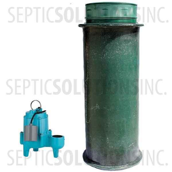 120 Gallon Simplex Fiberglass Pump Station with 4/10 HP Sewage Ejector Pump - Part Number 120FPT-410S