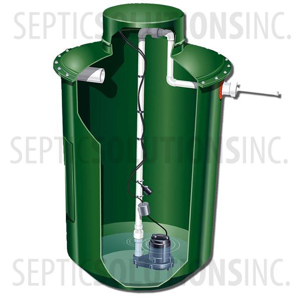 300 Gallon Simplex Fiberglass Pump Station with 1/2 HP Sewage Ejector Pump - Part Number 300FPT-12S