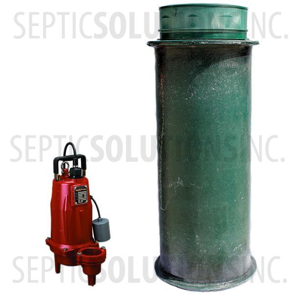 120 Gallon Simplex Fiberglass Pump Station with 1.0 HP Liberty Sewage Ejector Pump - Part Number 120FPT-LEH102