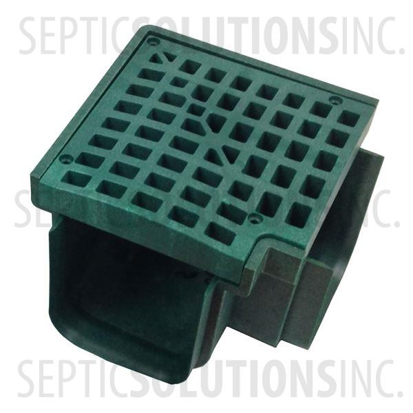 Polylok Heavy Duty Trench/Channel Drain 90 Degree Corner & Grate (Green) - Part Number PL-90860-90GR