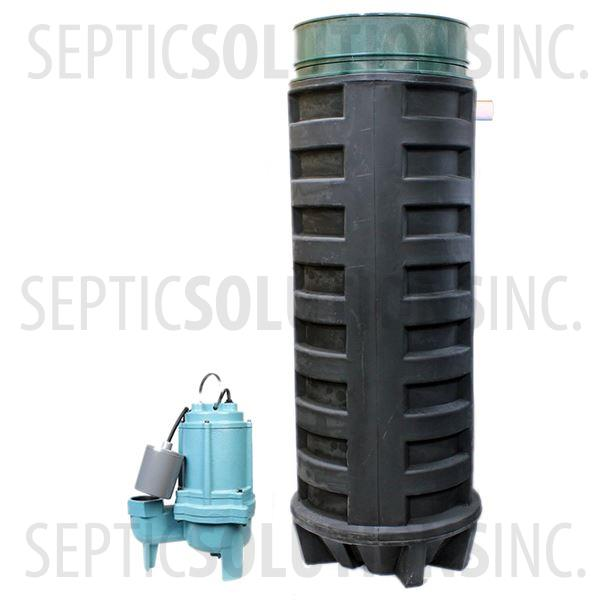 140 Gallon Simplex Polyethylene Pump Station with 4/10 HP Sewage Ejector Pump - Part Number 140PPT-410S